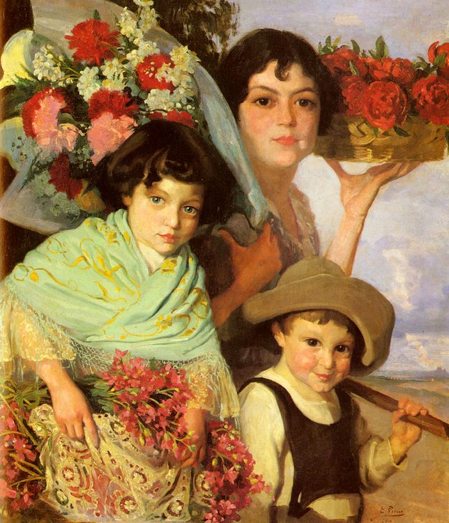 Flower Gatherers :: Edouard Ferrer-Comas - Children's portrait in art and painting фото