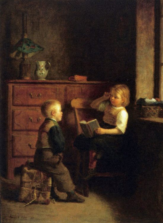 A Good Story :: Edouard Frиre - Children's portrait in art and painting фото