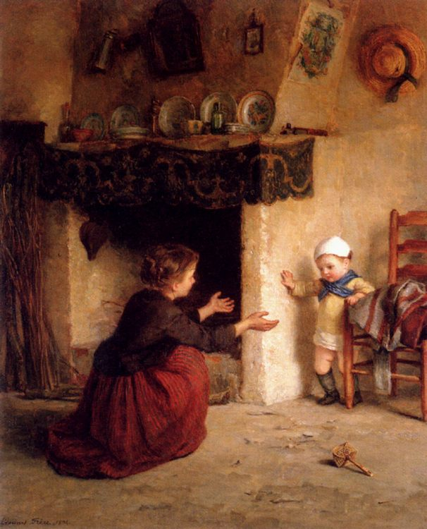 Baby's First Steps :: Edouard Frиre - Children's portrait in art and painting фото