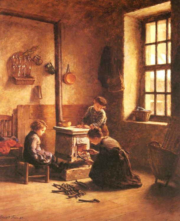 Lighting the Stove :: Edouard Frиre - Children's portrait in art and painting ôîòî