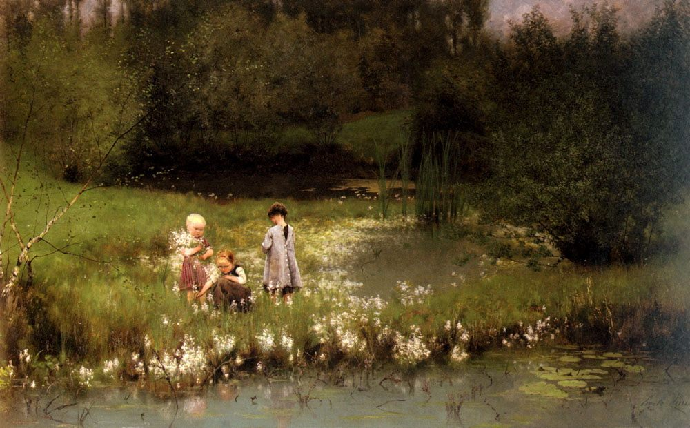 Picking Blossoms :: Emile Claus - Children's portrait in art and painting фото