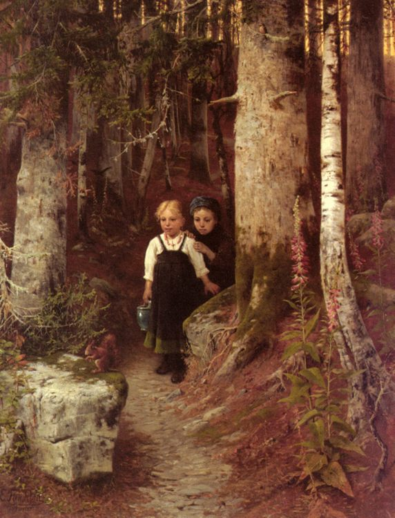 The Little Squirrel :: Ernst Freiesleben - Children's portrait in art and painting фото