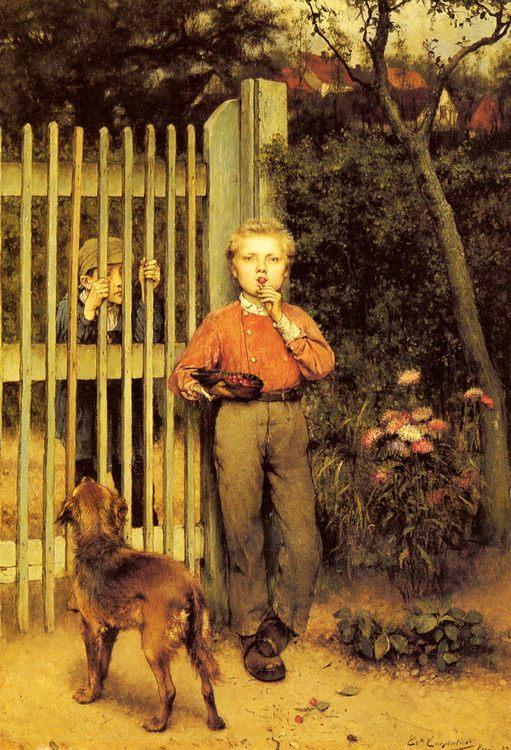 A Cap Full Of Cherries :: Evariste Carpentier - Children's portrait in art and painting ôîòî