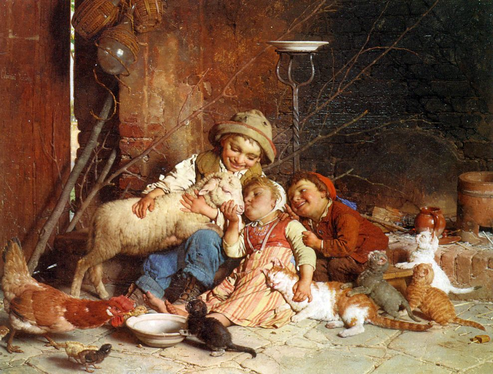 Farmyard Rascals :: Gaetano Chierici - Children's portrait in art and painting фото