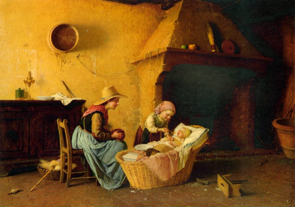 Feeding the Baby :: Gaetano Chierici - Children's portrait in art and painting фото