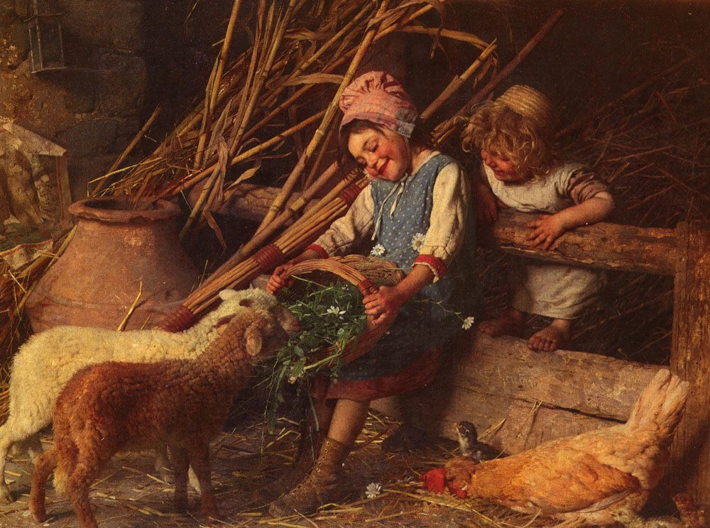 Feeding the Lambs :: Gaetano Chierici - Children's portrait in art and painting фото