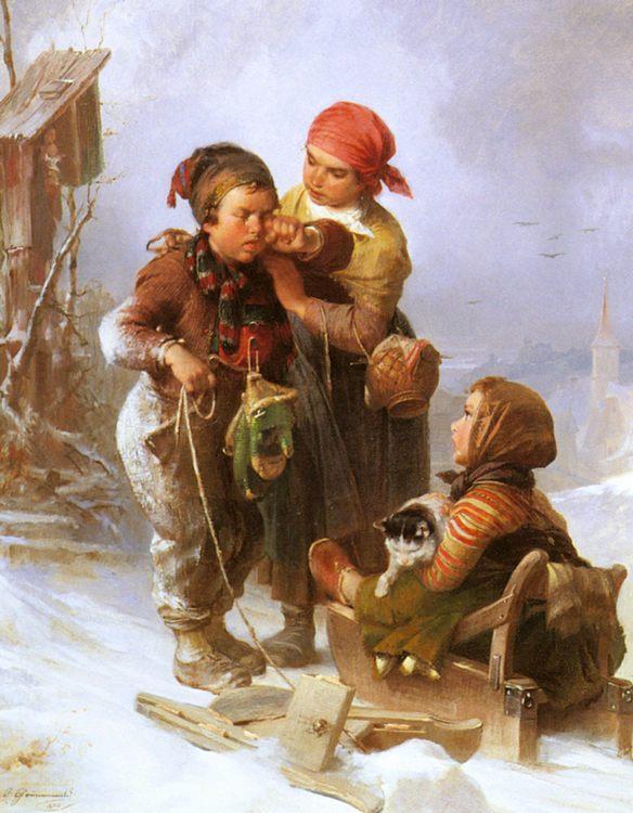 'Now It's Broken!' :: Jakob Grnenwald - Children's portrait in art and painting фото