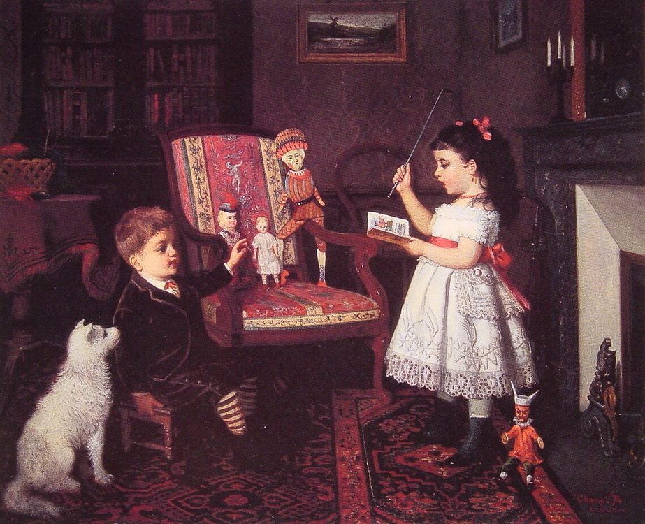 The Lesson :: James Wells Champney - Children's portrait in art and painting ôîòî