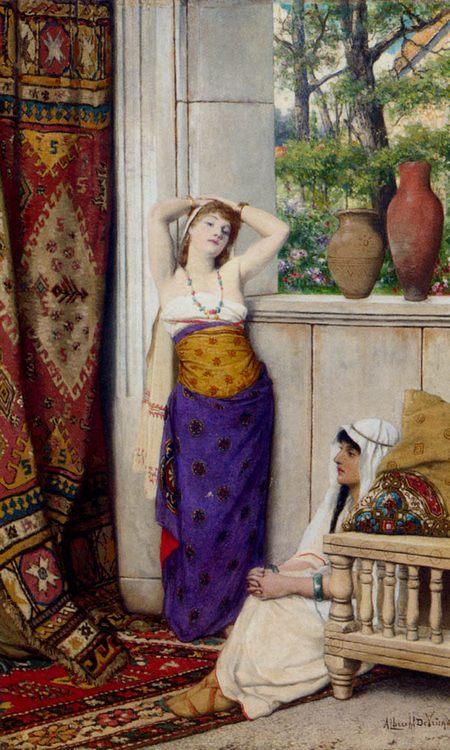Contemplation In The Harem :: Albrecht Frans Lieven Vriendt - Arab women (Harem Life scenes) in art  and painting ôîòî
