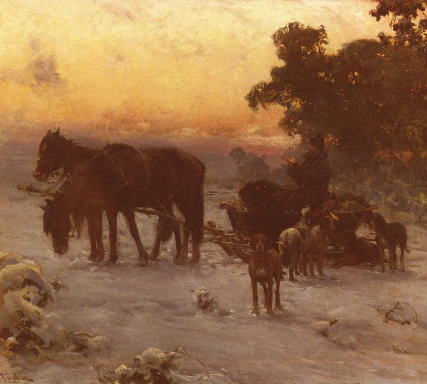 A Journey In Winter :: Alfred von Wierusz-Kowalski - Horses in art ôîòî