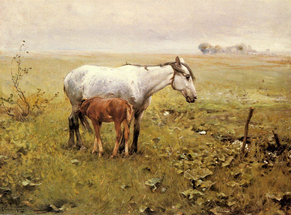 A Mare and her Foal in a Landscape :: Alfred von Wierusz-Kowalski - Horses in art ôîòî