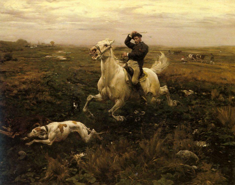 Land owner  :: Alfred von Wierusz-Kowalski - Hunting scenes фото