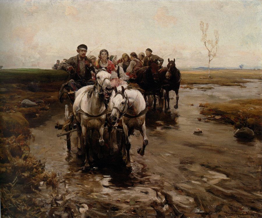 Giddy - Up :: Alfred von Wierusz-Kowalski - Romantic scenes in art and painting ôîòî
