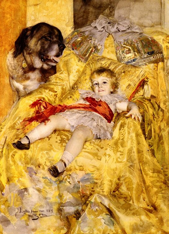 A Portrait Of Christian De Falbe, With A Saint Bernard At Luton Hoo :: Anders Zorn - Babies portraits  ôîòî