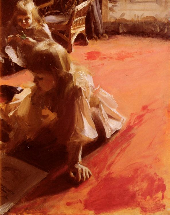 A Portrait of the Daughters of Ramon Subercasseaux :: Anders Zorn - Portraits of young girls in art and painting фото