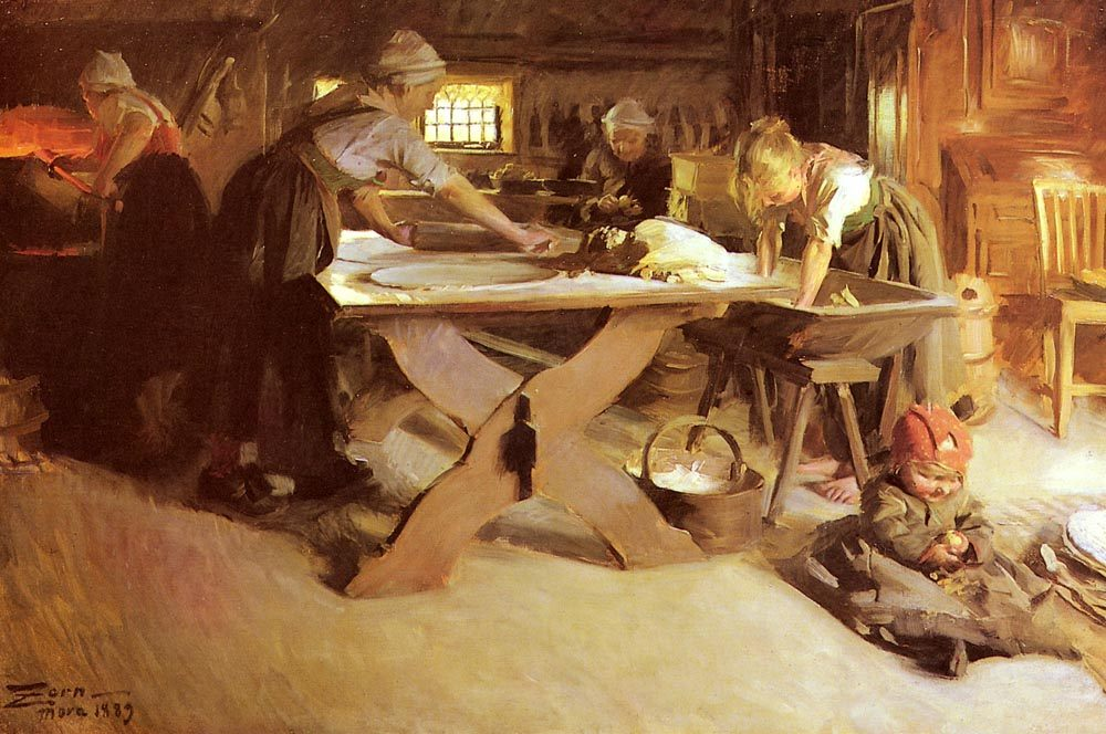 Brodbaket  :: Anders Zorn - Interiors in art and painting фото