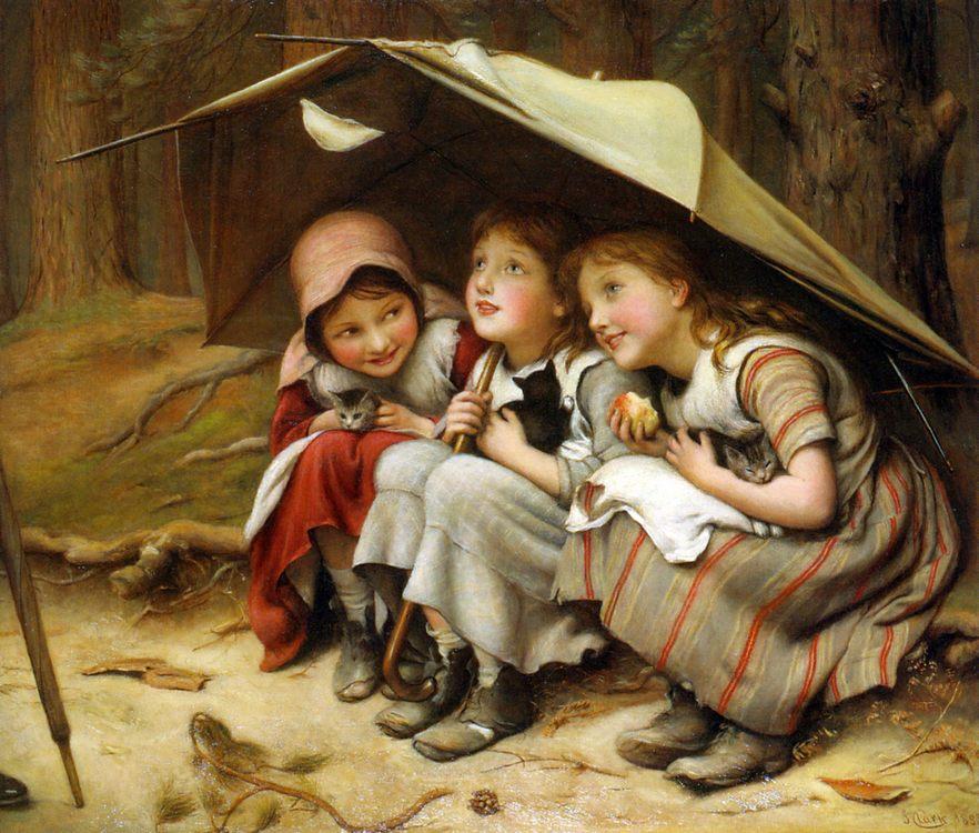 Three Little Kittens :: Joseph Clark - Children's portrait in art and painting фото