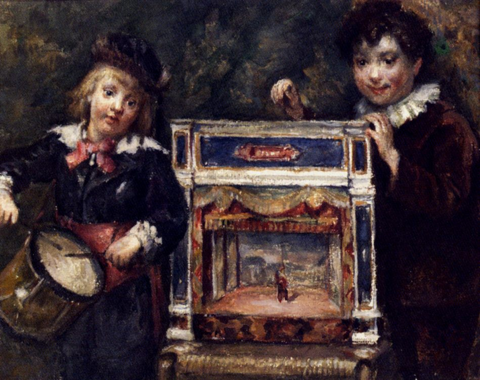 Portrait Of The Artist's Two Sons With Their Puppet Theatre :: Marcellin Desboutin - Children's portrait in art and painting ôîòî