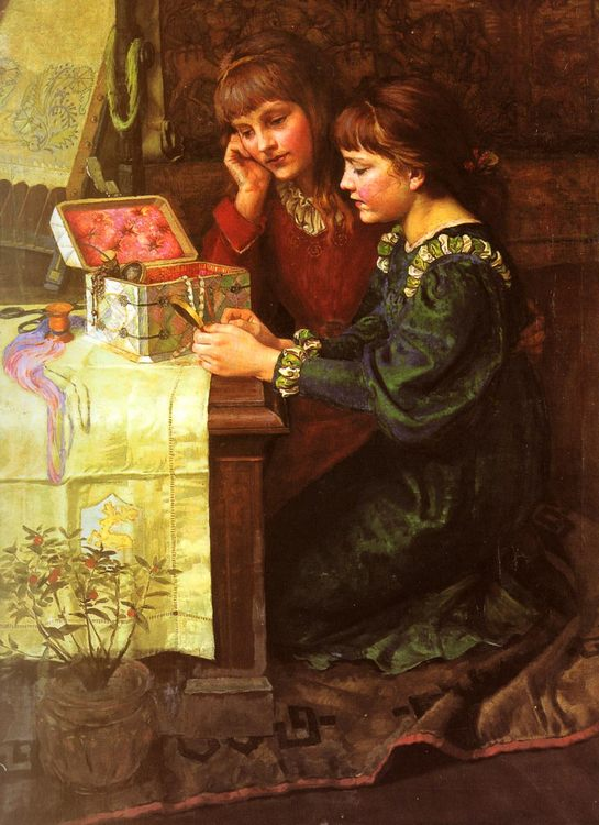 The Sewing Box :: Mary L. Gow - Children's portrait in art and painting фото