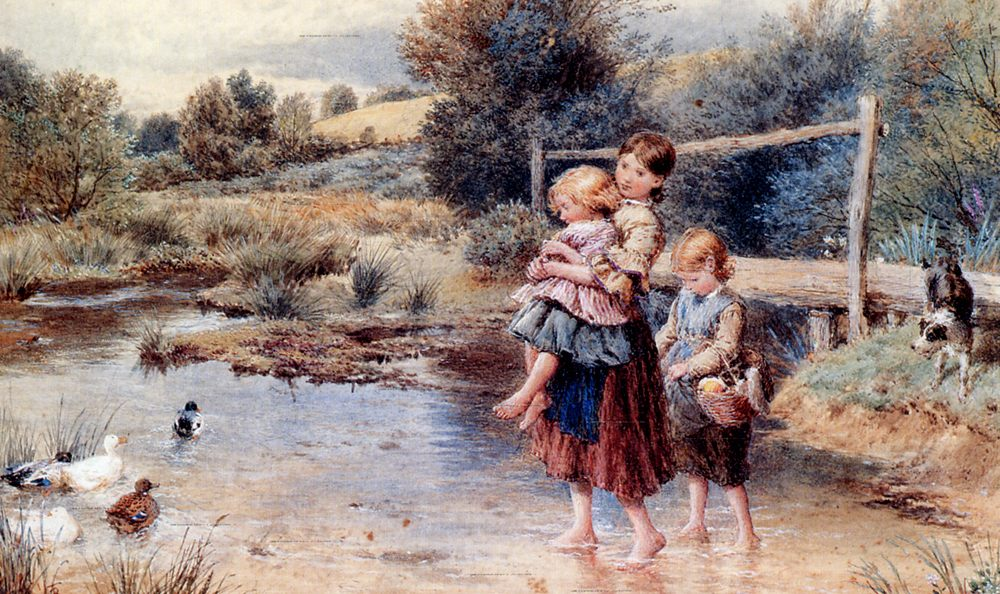 Children Paddling In A Stream :: Myles Birket Foster, R.W.S. - Children's portrait in art and painting ôîòî