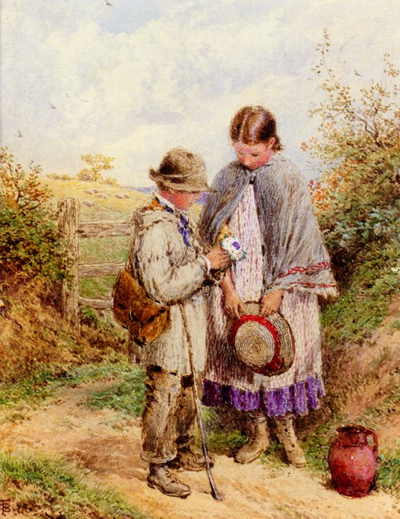 The Posy :: Myles Birket Foster, R.W.S. - Children's portrait in art and painting фото