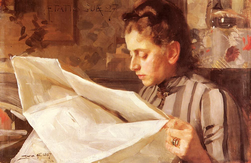 Emma Zorn, Lasande :: Anders Zorn - 7 female portraits ( the end of 19 centuries ) in art and painting фото