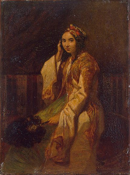 Woman in Oriental Dress :: Alexandre-Gabriel Decamps  - Arab women ( Harem Life scenes ) in art  and painting фото