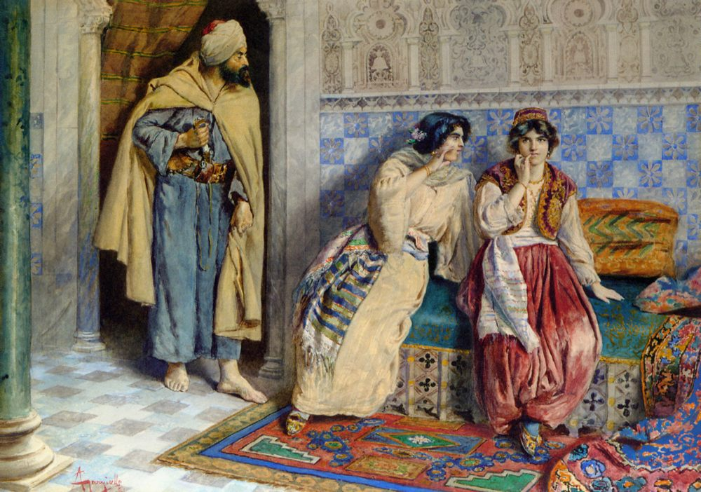 The Message :: Antonio Gargiullo - Arab women ( Harem Life scenes ) in art  and painting фото