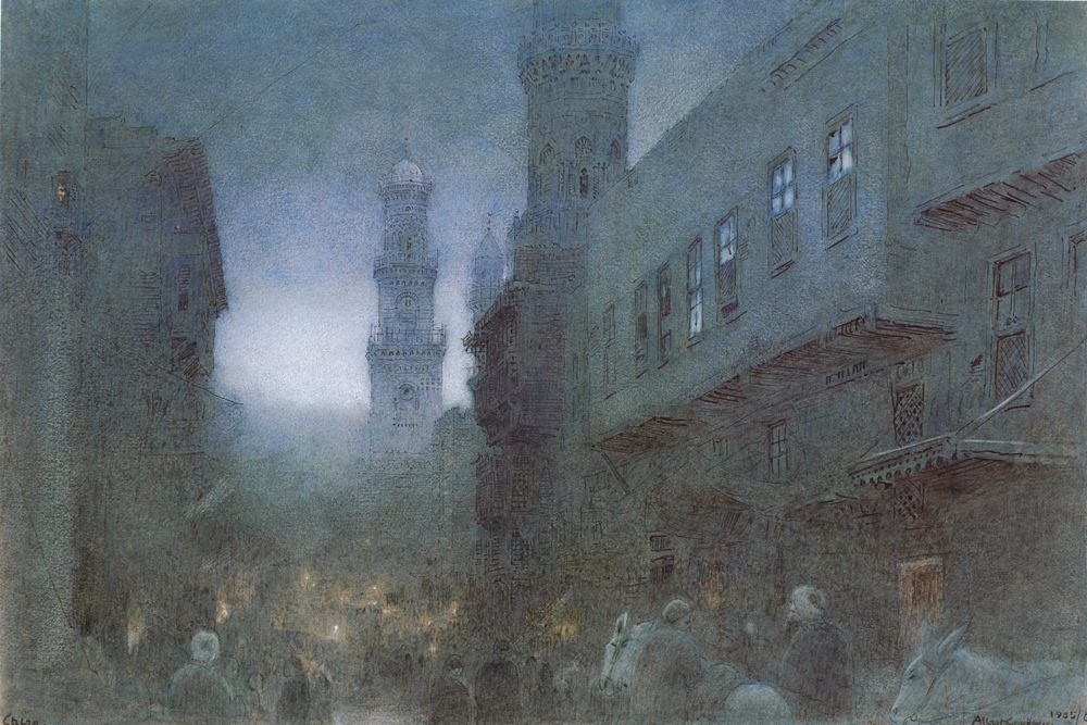 Cairo ::  Albert Goodwin - scenes of Oriental life ( Orientalism) in art and painting ����