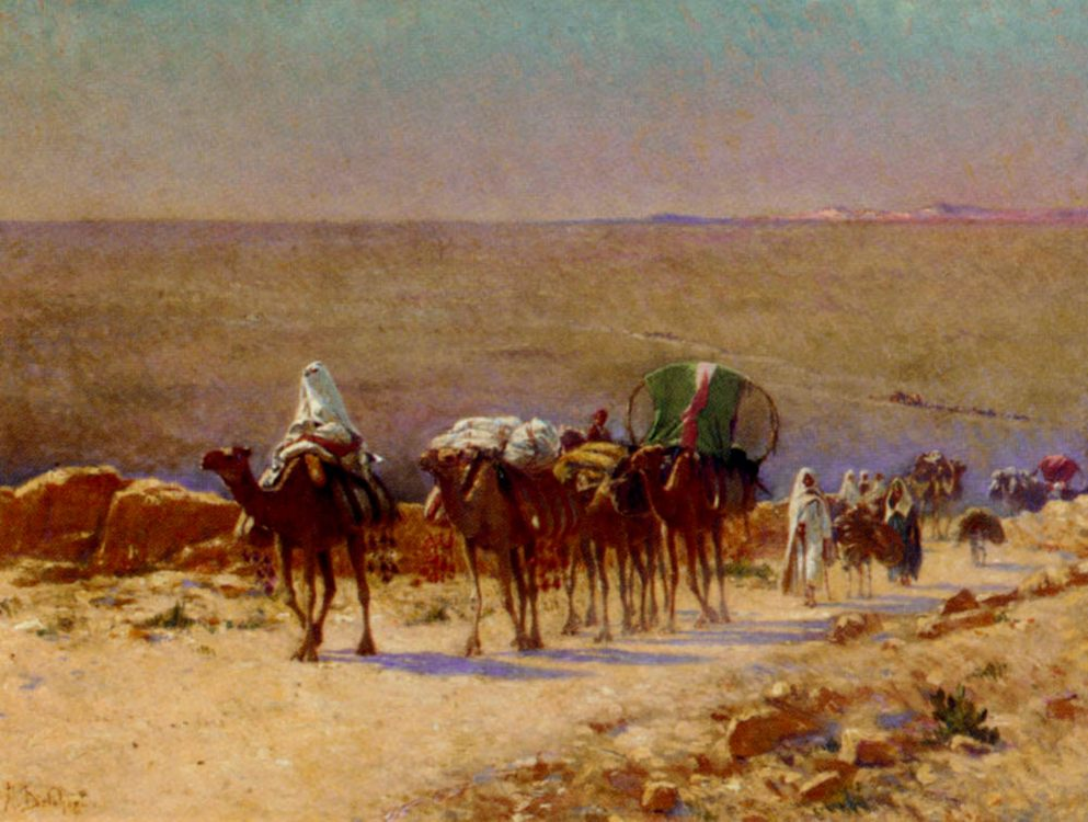 The Caravan In The Desert :: Alexis Auguste Delahogue - scenes of Oriental life ( Orientalism) in art and painting фото