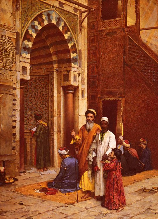 Blind man at the Mosque :: Arthur von Ferraris - scenes of Oriental life (Orientalism) in art and painting ôîòî