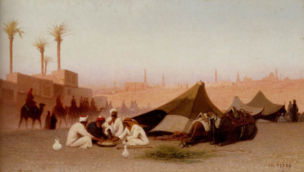 A late afternoon meal at an encampment, Cairo :: Charles Theodore Frere - scenes of Oriental life (Orientalism) in art and painting ôîòî