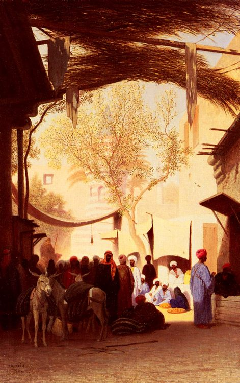 A Market Place, Cairo :: Charles Theodore Frere - scenes of Oriental life ( Orientalism) in art and painting фото