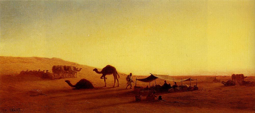 An Arab Encampment :: Charles Theodore Frere - scenes of Oriental life ( Orientalism) in art and painting фото