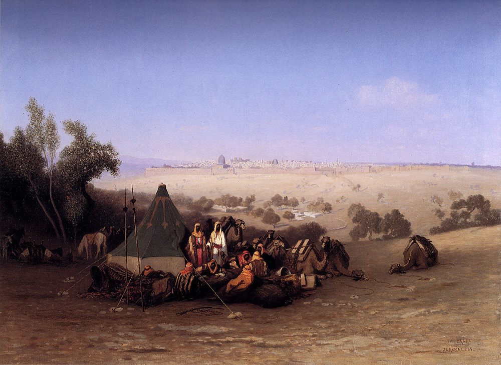 An Rab Encampment On The Mount Of Olives With Jerusalem Beyond :: Charles Theodore Frere - scenes of Oriental life ( Orientalism) in art and painting фото
