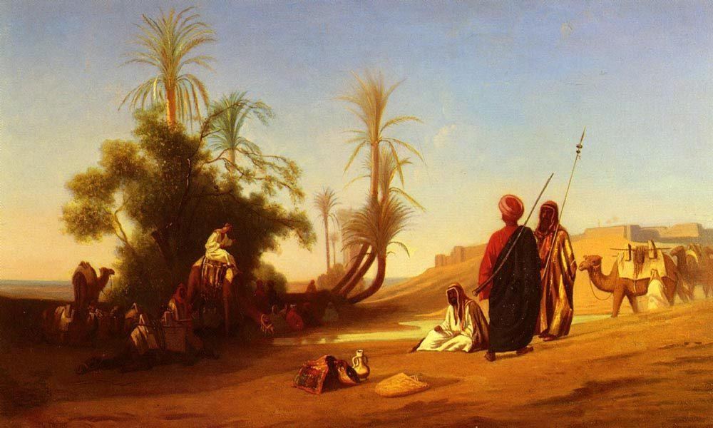 Rest at the Oasis :: Charles Theodore Frere - scenes of Oriental life ( Orientalism) in art and painting фото