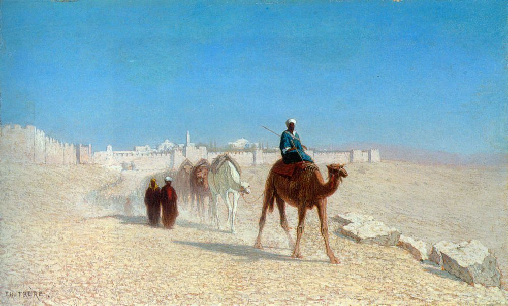 Jerusalem, Cote de la Porte de Jaffe :: Charles Theodore Frere - scenes of Oriental life ( Orientalism) in art and painting фото