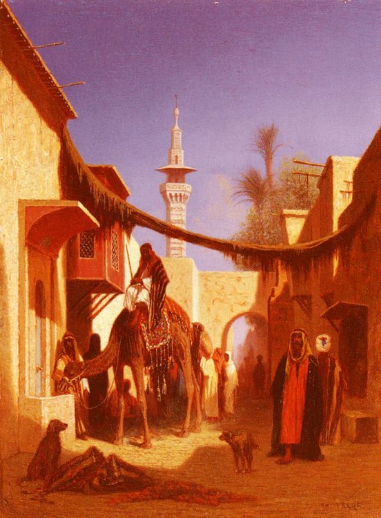 Street In Damascus and Street In Cairo- A Pair of Painting :: Charles Theodore Frere - scenes of Oriental life ( Orientalism) in art and painting фото