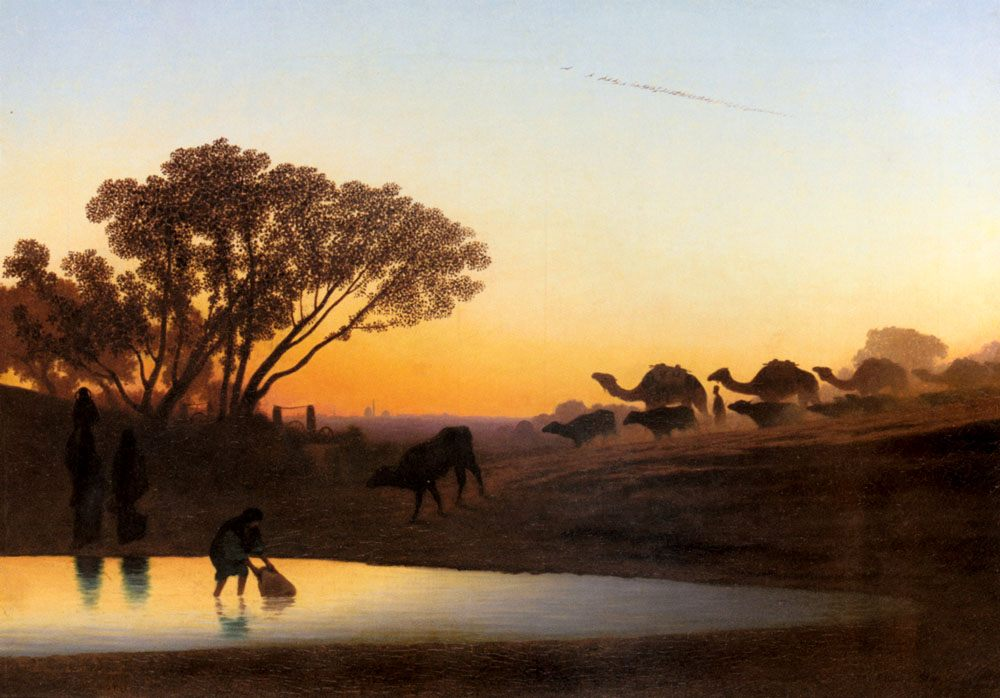 Sunset On The Nile :: Charles Theodore Frere - scenes of Oriental life ( Orientalism) in art and painting фото