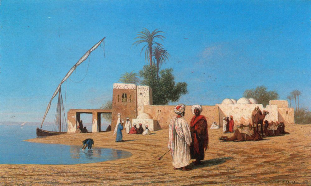 A Village on the Shores of the Nile - High Egypte ::Charles Theodore Frere - scenes of Oriental life ( Orientalism) in art and painting фото