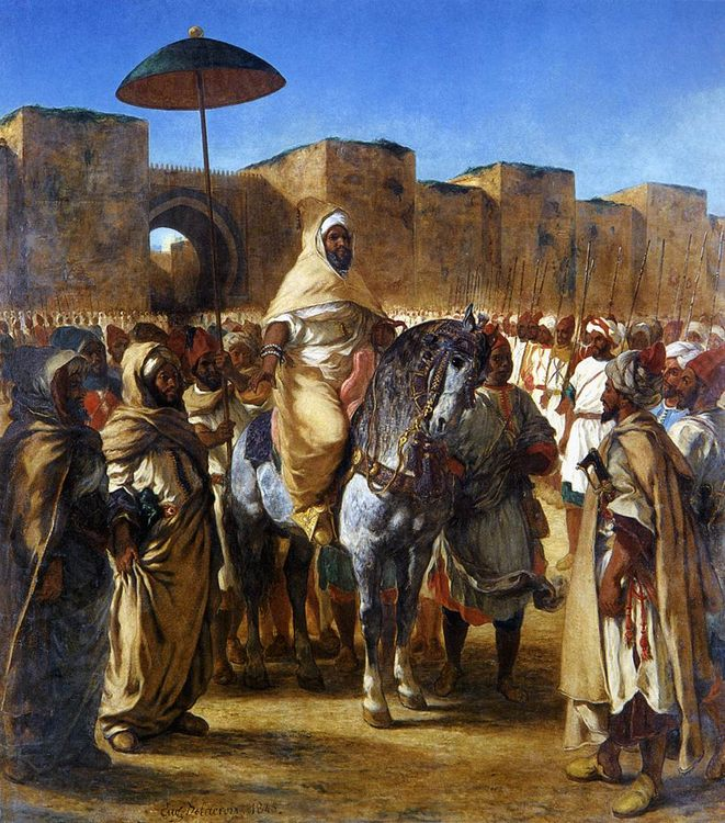 The Sultan of Morocco and his Entourage :: Eugиne Delacroix - scenes of Oriental life ( Orientalism) in art and painting фото
