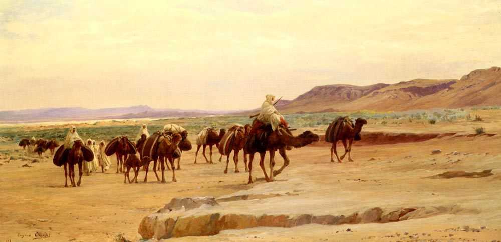 Salt Caravans in the Desert :: Eugиne-Alexis Girardet - scenes of Oriental life ( Orientalism) in art and painting фото