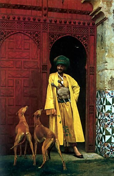 An Arab and his Dogs :: Jean-Leon Gerome  - scenes of Oriental life (Orientalism) in art and painting ôîòî