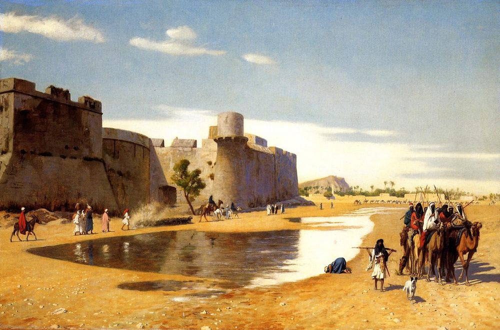 An Arab Caravan outside a Fortified Town, Egypt :: Jean-Leon Gerome - scenes of Oriental life ( Orientalism) in art and painting фото