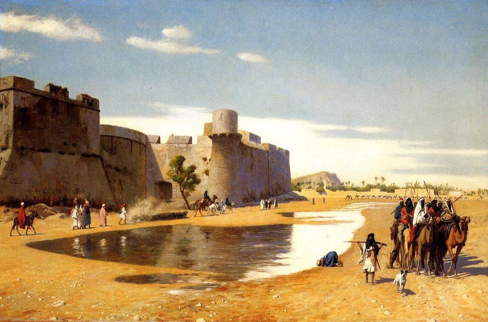 An Arab Caravan outside a Fortified Town, Egypt :: Jean-Leon Gerome - scenes of Oriental life (Orientalism) in art and painting ôîòî
