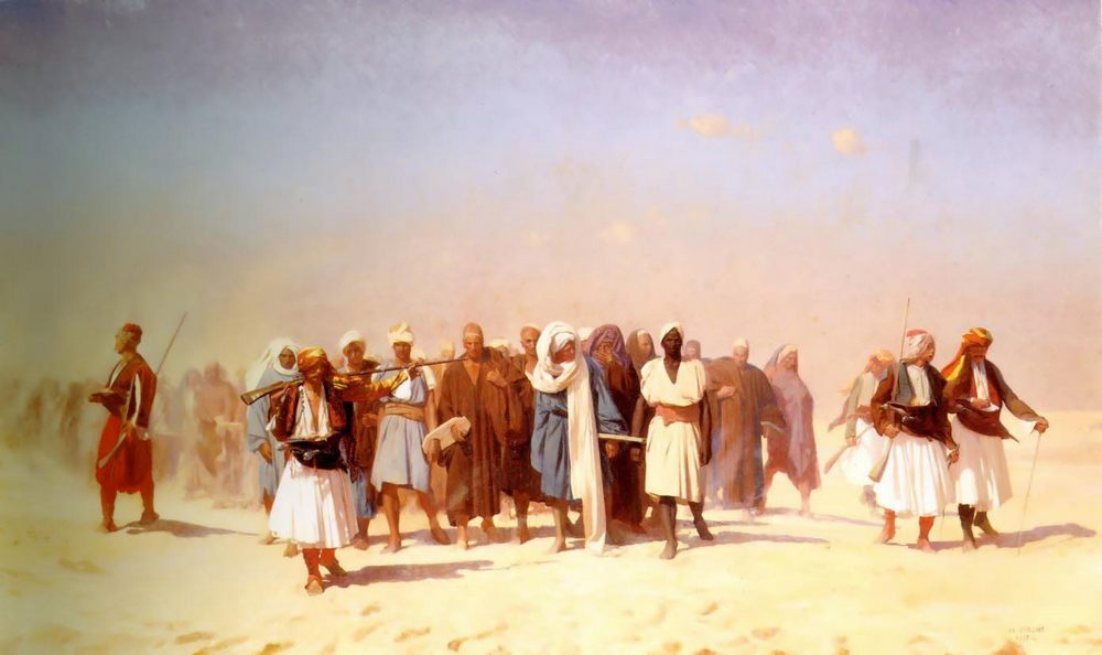 Egyptian Recruits Crossing the Desert  :: Jean-Leon Gerome - scenes of Oriental life ( Orientalism) in art and painting фото