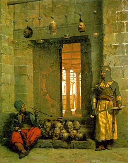 Heads of the Rebel Beys at the Mosque of El Hasanein, Cairo :: Jean-Leon Gerome  - scenes of Oriental life ( Orientalism) in art and painting фото
