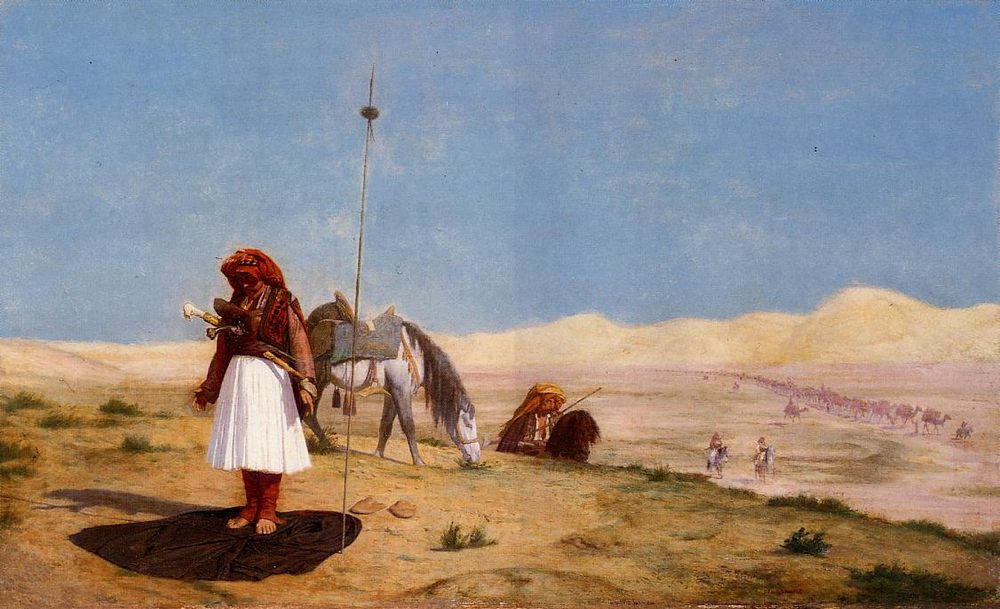 Prayer in the Desert :: Jean-Leon Gerome  - scenes of Oriental life ( Orientalism) in art and painting фото