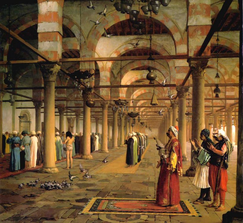 Public Prayer in the Mosque of Amr, Cairo :: Jean-Leon Gerome - scenes of Oriental life ( Orientalism) in art and painting фото