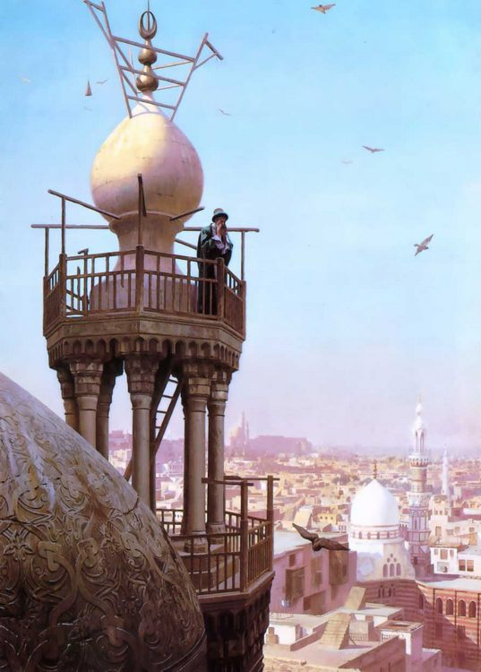 A Muezzin Calling from the minaret  :: Jean-Leon Gerome - Oriental architecture фото